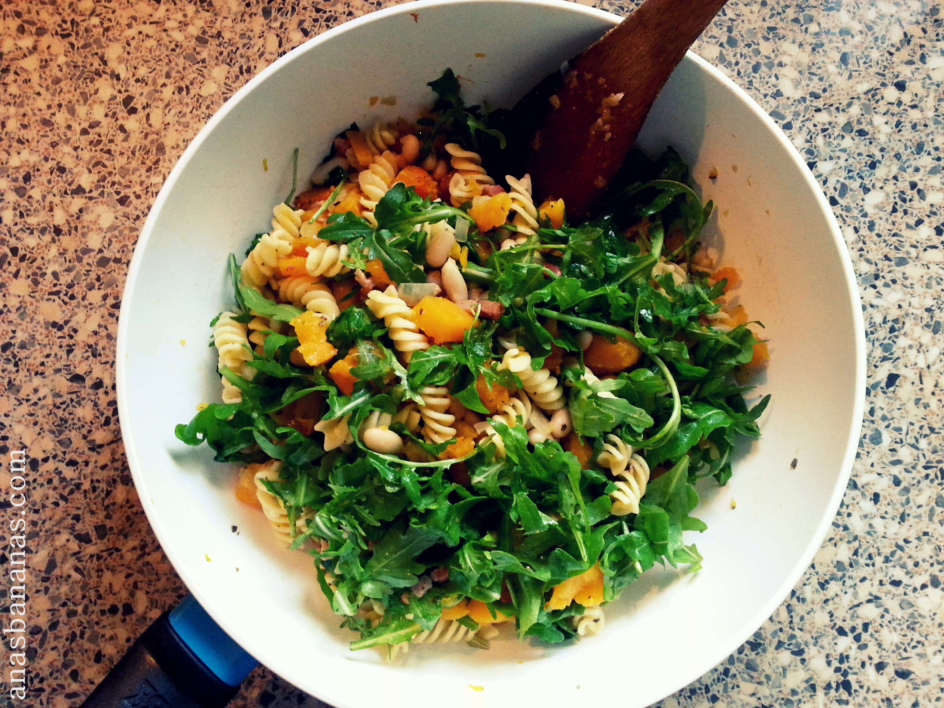 butternut squash pasta bacon healthy recipe