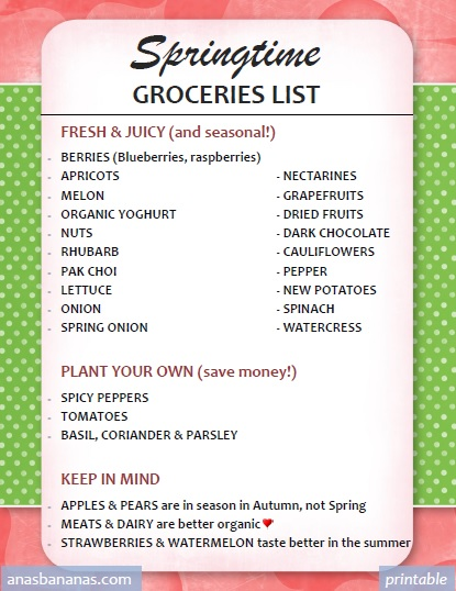 seasonal groceries list spring free printable ana s bananas