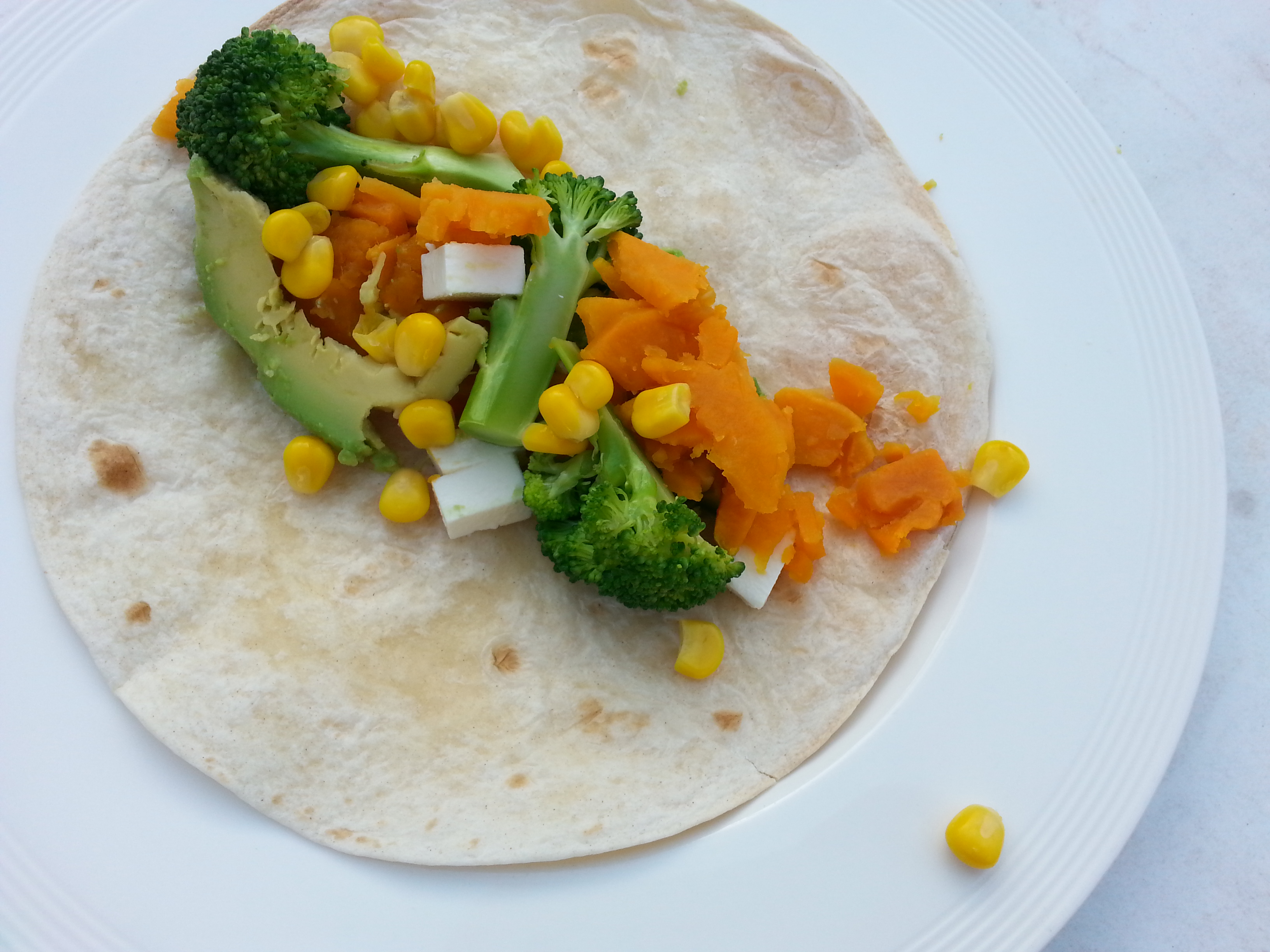 sweet potato broccoli feta wrap recipe